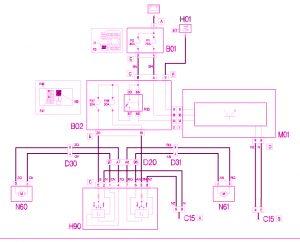 Schema elettrico alzacristalli anteriori Fiat Doblò